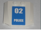 Part No: 45677pb025  Name: Wedge 4 x 4 x 2/3 Triple Curved with White '02 POLICE' on Blue Background Pattern (Sticker) - Set 7744