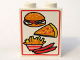Part No: 4864bpx1  Name: Panel 1 x 2 x 2 - Hollow Studs with Hamburger, Pizza, Fries, and Sausages Pattern