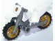 Part No: 50860c04pb01  Name: Motorcycle Dirt Bike, Complete Assembly with Flat Silver Chassis and Pearl Gold Wheels with Gold Badge Pattern (Sticker) - Set 60137