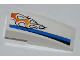 Part No: 50950pb037L  Name: Slope, Curved 3 x 1 No Studs with Black and Blue Lines and Orange Flames Pattern Model Left Side (Sticker) - Set 8221