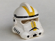 Part No: 50995pb03  Name: Minifigure, Headgear Helmet SW Clone Trooper Ep.3 Pattern with Yellow Stripes