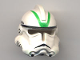Part No: 50995pb04  Name: Minifigure, Headgear Helmet SW Clone Trooper Ep.3 Pattern with Green Stripes