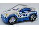 Part No: 53899c01pb01  Name: Duplo Car Coupe with Blue Base, Headlights, Star Badge and 'POLICE' Pattern
