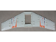 Part No: 54093pb05  Name: Wing Plate 20 x 56 with 6 x 10 Cutout and No Holes with Orange Stripes, Hatches and 'MX 81  7644' Pattern (Stickers) - Set 7644