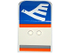 Part No: 54097pb04  Name: Door 2 x 4 x 6 Curved Aircraft with White Airline Bird on Blue Background and Light Bluish Gray and Orange Stripes Pattern (Stickers) - Set 60104