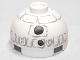 Part No: 553pb015  Name: Brick, Round 2 x 2 Dome Top with Gray Lines and Coal Pieces Pattern (Snowman R2-D2)