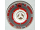 Part No: 553px1a  Name: Brick, Round 2 x 2 Dome Top with Silver and Red Pattern (R5-D4) (7658)