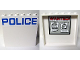 Part No: 59349pb096  Name: Panel 1 x 6 x 5 with Blue 'POLICE' on White Background on Outside and 'WANTED!' Posters on Inside Pattern (Stickers) - Set 60044