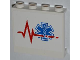 Part No: 60581pb015L  Name: Panel 1 x 4 x 3 with Side Supports - Hollow Studs with Red Heart Monitor Line and EMT Star of Life Pattern Model Left Side (Sticker) - Set 4429