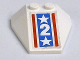 Part No: 6069pb05  Name: Wedge 4 x 4 Triple without Stud Notches with White Stars and Number Two on Blue Background with Red Stripes Pattern (Sticker) - Set 6551