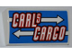 Part No: 61068pb006  Name: Slope, Curved 2 x 4 x 2/3 No Studs without Bottom Tubes with 'CARLS CARGO' and White Arrows Pattern (Sticker) - Set 8198