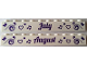 Part No: 6111pb018  Name: Brick 1 x 10 with Dark Purple 'July' and 'August' Pattern on Opposite Sides
