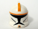Part No: 61189pb04  Name: Minifigure, Headgear Helmet SW Clone Trooper with Holes, Orange Stripe Pattern