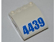 Part No: 61487pb03  Name: Slope, Curved 4 x 4 x 2 with Holes and Blue '4439' Pattern (Sticker) - Set 4439