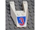 Part No: 6153apb01  Name: Wedge 6 x 4 Cutout without Stud Notches with Red Number 3 Pattern