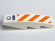 Part No: 61678pb015  Name: Slope, Curved 4 x 1 No Studs with Orange and White Diagonal Stripes Pattern (Sticker) - Set 7738