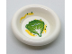 Part No: 6256pb05  Name: Minifigure, Utensil Dish 3 x 3 with Green and Lime Lettuce Leaf and Yellow Splotches Pattern