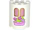 Part No: 6259pb024  Name: Cylinder Half 2 x 4 x 4 with 2 Windows and Pink Flower Box Pattern (Sticker) - Set 41052