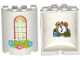 Part No: 6259pb027s1  Name: Cylinder Half 2 x 4 x 4 with Window and Flower Box Pattern with Alarm Clock and Flowers on Inside Pattern (Sticker) - Set 41142
