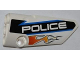 Part No: 64391pb003  Name: Technic, Panel Fairing # 4 Small Smooth Long, Side B with Orange Flames and White 'POLICE' on Black Background Pattern (Sticker) - Set 8221