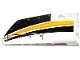 Part No: 64391pb027  Name: Technic, Panel Fairing # 4 Small Smooth Long, Side B with Yellow, Orange and White Stripes on Black Background Pattern (Sticker) - Set 42044