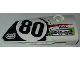 Part No: 64391pb038  Name: Technic, Panel Fairing # 4 Small Smooth Long, Side B with Number 80, Sponsorship Logos and Black, Lime and Red Styling Pattern (Sticker) - Set 42065