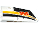 Part No: 64683pb027  Name: Technic, Panel Fairing # 3 Small Smooth Long, Side A with Red '96' and Yellow, Orange and White Stripes Pattern (Sticker) - Set 42044