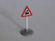 Part No: 747pb03c01  Name: Road Sign Old Triangle with Train Engine Pattern & Type 1 Base