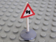 Part No: 747pb05c01  Name: Road Sign Old Triangle with Curved Road Pattern & Type 1 Base