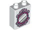 Part No: 76371pb061  Name: Duplo, Brick 1 x 2 x 2 with Bottom Tube with Silver Mirror and Magenta Frame Pattern