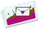 Part No: 85984pb104  Name: Slope 30 1 x 2 x 2/3 with Mail Envelope with Heart Seal on White, Gold and Magenta Background Pattern (Sticker) - Set 41104