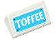 Part No: 85984pb147  Name: Slope 30 1 x 2 x 2/3 with White 'TOFFEE' on Medium Azure Background Pattern (Sticker) - Set 41124