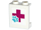 Part No: 87552pb041  Name: Panel 1 x 2 x 2 with Side Supports - Hollow Studs with Red Cross and Animal Paw Pattern (Sticker) - Set 41125