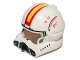 Part No: 87557pb05  Name: Minifigure, Headgear Helmet SW Clone Pilot with Open Visor and Yellow and Red Markings Pattern
