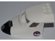 Part No: 87613pb004b  Name: Aircraft Fuselage Curved Forward 6 x 10 with 3 Window Panes with Black Space Shuttle Nose and Space Logo Pattern on Both Sides (Stickers) - Set 3367