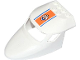 Part No: 87613pb009  Name: Aircraft Fuselage Curved Forward 6 x 10 with 3 Window Panes with Blue Lines and Coast Guard Logo on Orange Background Pattern (Sticker) - Set 60015