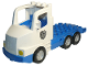 Part No: 87700c04pb01  Name: Duplo Truck Large Cab with Blue 4 x 8 Flatbed Plate and Police Badge Pattern