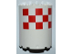 Part No: 87926pb003  Name: Cylinder Half 3 x 6 x 6 with 1 x 2 Cutout with Red and White Large Checkered Pattern (Sticker) - Set 3182