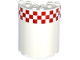 Part No: 87926pb008  Name: Cylinder Half 3 x 6 x 6 with 1 x 2 Cutout with Red and White Small Checkered Pattern (Sticker) - Set 60104