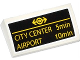 Part No: 88930pb046  Name: Slope, Curved 2 x 4 x 2/3 No Studs with Bottom Tubes with Yellow Train Logo, 'CITY CENTER 5min' and 'AIRPORT 10min' Pattern (Sticker) - Set 60050