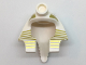 Part No: 90462pb04  Name: Minifigure, Headgear Headdress Mummy (Type 2) with Gold Stripes Thick at Top and 9 Gold Stripes Thin at Sides Pattern
