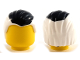 Part No: 92081pb01  Name: Minifig, Hair Combed Front to Rear, Black Wide Streak on Top Pattern