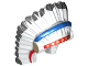 Part No: 93227pb01  Name: Minifigure, Headgear Headdress Indian with Colored Feathers, Gold Dots on Red and Black Hair on Back Pattern