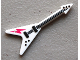 Part No: 93564pb02  Name: Minifigure, Utensil Guitar Electric 'Flying V' with Dark Pink Lightning Bolt Pattern