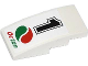Part No: 93606pb019  Name: Slope, Curved 4 x 2 No Studs with Black Number 1 and Octan Logo Pattern (Sticker) - Set 60053