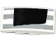 Part No: 93606pb037L  Name: Slope, Curved 4 x 2 No Studs with Light Bluish Gray Stripes and Half Black Rear Window Pattern Model Left Side (Sticker) - Set 75912