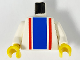 Part No: 973p02c01  Name: Torso Vertical Striped Blue/Red Pattern / White Arms / Yellow Hands