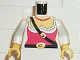 Part No: 973p38c01  Name: Torso Pirate Female Red Corset Pattern / White Arms / Yellow Hands