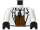 Part No: 973pa4c01  Name: Torso Adventurers Jungle Suit, Brown Vest, Black Tie Pattern / White Arms / Black Hands