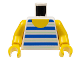 Part No: 973pb0128c01  Name: Torso Horizontal Blue/White Stripes Pattern / Yellow Arms / Yellow Hands